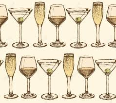 martini vintage sketch martini champagne and wine glass in vintage style vector