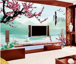 popular chinese blossom wallpaper murals buy cheap chinese blossom custom mural 3d wallpaper swan lake the plum blossom photo wall paper decor painting 3d wall