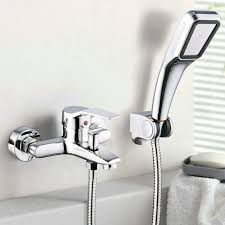 aliexpress com buy bath mixer with shower bathtub faucet hot aliexpress com buy bath mixer with shower bathtub faucet hot cold water mixer tap shower set wall mouthed faucets chrome finished brass from reliable bath