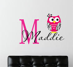 Owl Wall Sticker Childrens Decor Zebra Owl Wall Decal With Name Name Wall Decal
