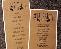 Country Wedding Programs Custom Program Etsy
