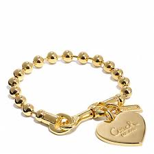 gold chain bracelet with charms images Coach f94025 ball chain heart charm bracelet gold gold coach