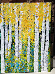 items similar to birch aspen trees original acrylic painting on 30 x 40 canvas for or commission a 48 wide x 60 high painting for on