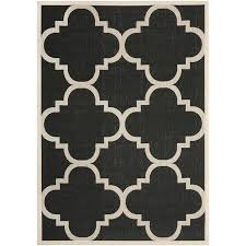 Suzanne Kasler Quatrefoil Border Indoor Outdoor Rug Courtyard Black And Beige Quatrefoil Indoor Outdoor Rug