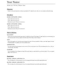 work resume template resume template for no work experience