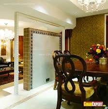 tiled wall partition in drawing room for dining area gharexpert