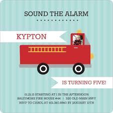 sound the alarm fire truck birthday party invitation kids