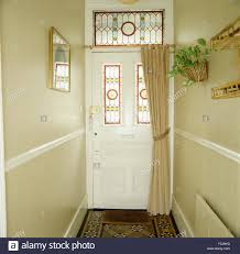 Edwardian Interior Doors Stained Glass Panels In Front Door With Acream Curtain In Stock