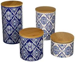 amazon com american atelier pirouette 4 piece canister set blue