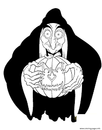 witch holding pumpkin disney halloween coloring pages printable