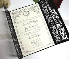 gatefold wedding invitations rustic deco gate series black color gate fold laser cut