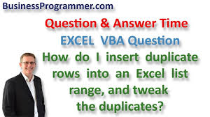 how to insert and duplicate rows in an excel vba range youtube