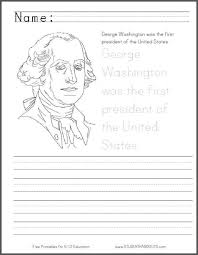 george washington coloring page with handwriting practice for