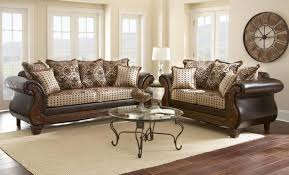 Beige Leather Living Room Set Myco Furniture La Verne Classic Brown Leather Beige Fabric Living