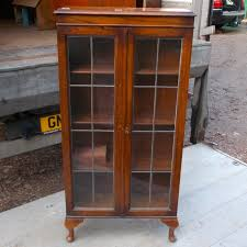 oak bookcase with lead light doors bookcases antique furniture