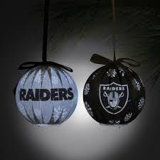 oakland raiders 6 led boxed ornament set black silver