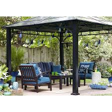 Gazebo Fire Pit Ideas by Shop Allen Roth Black Square Grill Gazebo At Lowes Com Outside