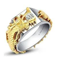gold male rings images 0 25ct yellow dragon male ring solid 18k white gold brand jpg