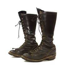lace up motorcycle boots wesco lace up knee high lineman boots vintage 1970s tall black