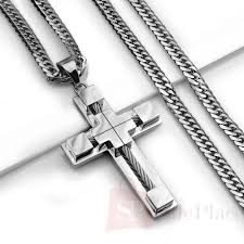 metal cross necklace images 24 quot mens stainless steel 6mm silver cuban curb link chain necklace jpg