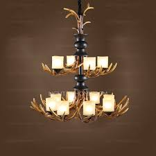 great two tiered 12 light fake deer antler chandelier