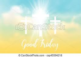 friday background with white cross and sun rays in the