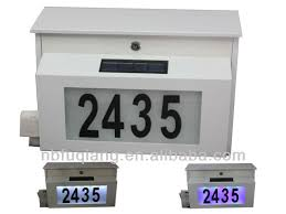 Solar Powered Address Light - fq 195 metal solar power house numbers mailbox with two choice of