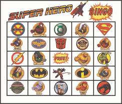 Printable Halloween Bingo Cards by Superhero Bingo Gameboard Printed Matching Cards For Each Square