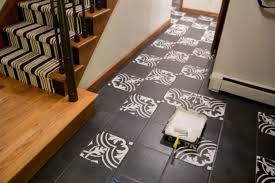 painting a floor faux cement tile painted floors bright green door