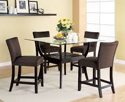 Cappuccino Dining Room Furniture 5 Piece Glass Top Counter Height Table Set In Cappuccino Finish By