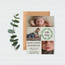 baby announcement card baby thank you card birth announcement