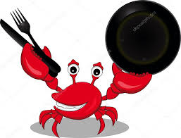 a funny cartoon crabs with fork knife and spoon u2014 stock vector
