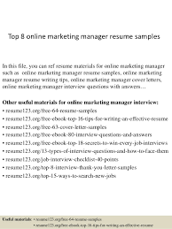 Online Resumes Samples by Top 8 Online Marketing Manager Resume Samples 1 638 Jpg Cb U003d1427980094