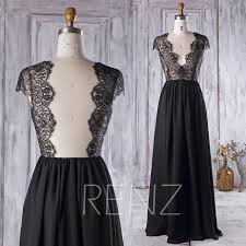 2016 black bridesmaid dress v neck lace wedding dress backless