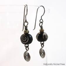 nickel earrings carved bone niobium earrings with spiral naturally nickel free