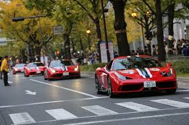 rare supercars ferrari event storms osaka brings rare supercars together