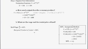 Cost Of Rent by The Production Function Finding The Wage Rate Rental Rate And