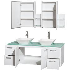 amare 60 inch double bathroom vanity white finish green glass top