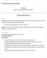 resume sample for front desk receptionist u2013 topshoppingnetwork com
