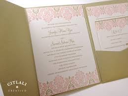 pocket wedding invitation two tone damask pocket folder wedding invitations
