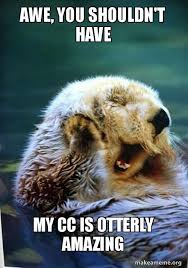 Awe Meme - awe you shouldn t have my cc is otterly amazing make a meme