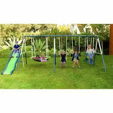 metal swing set kids playground slide outdoor play backyard