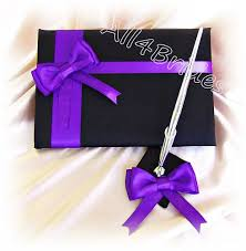 purple guest book black and regency purple wedding pillow basket guest book and