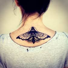 neck and tattoos butterfly moth traditional