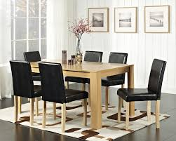 dining room black leather dining chairs with rectangle table and
