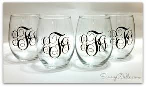 wine glass with initials monogrammed stemless wine glasses