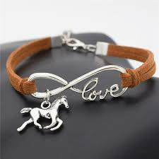 silver infinity bracelet with charms images Fashion silver love horse charm infinity bracelet splashbuy jpg