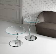 comodini in cristallo tavolino design originale in vetro in metallo rotondo