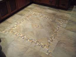 porcelain tile with decorative inlay for a kitchen area