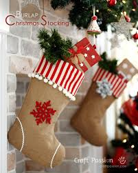 Christmas Stocking Decorations Burlap Christmas Stocking Free Sew Pattern Craft Passion